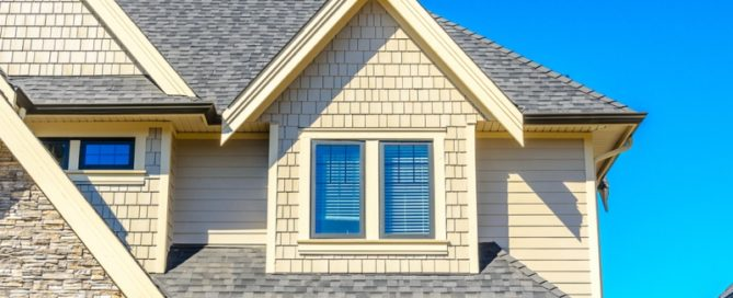 new grey and white asphalt roof shingles