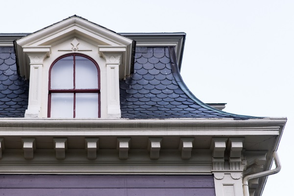 the right side of a French mansard roof