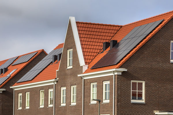 Modern houses with tile roofing