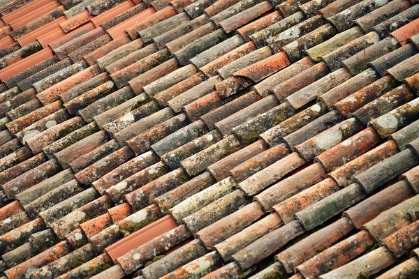 aged clay tile roof