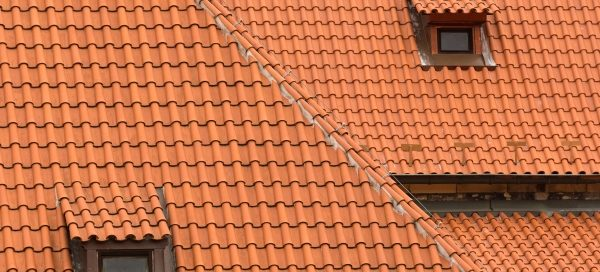 freshly-finished clay tile roof