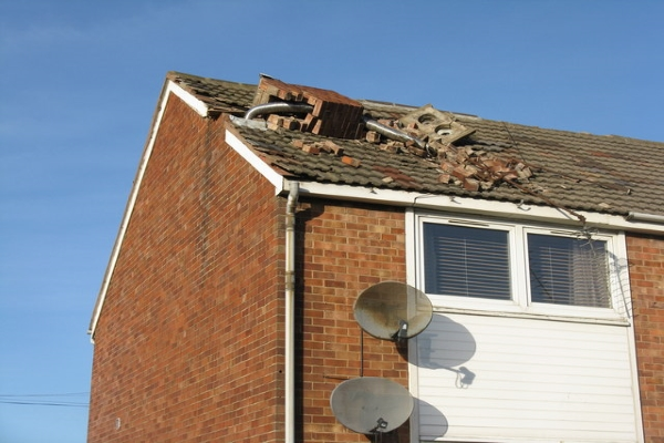 a collapsed residential chimney